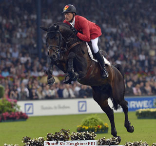 Christian Ahlmann riding Codex One, the highest placed German Team pair at Aachen in 2012. Photo: Kit Houghton / FEI