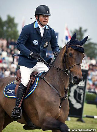 2012 FEI Nations Cup-Falsterbo Jens Fredricson's brilliant jump-off performance with Lunatic clinched the honours for Sweden. © Lotta Gyllensten/FEI