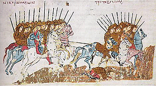 "Byzantine miniature from the Madrid Skylitzes, 12th century, depicting a scene of victorious Byzantine troops (""νίκη Ρωμαίων"") pursuing Bulgarians (""τροπή Βουλγάρων""), in the context of the Battle of Pliska, 811. Wikimedia / Public Domain"