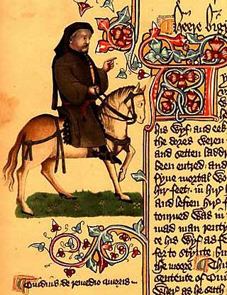 Image of Chaucer as a pilgrim from Ellesmere Manuscript, an early 15th Century published version of the Canterbury Tales.  Wikimedia Commons / Public Domain