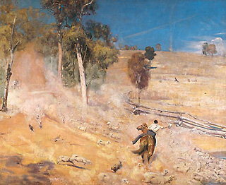 A break away! (1891, oil on canvas). It depicts a scene in the late 19th century. A herd of sheep is being moved by drovers through a parched landscape in search of water and green pastures. Smelling water, the thirsty sheep stampede downhill towards a dam, as one drover tries desperately to turn them around and save them from being crushed and drowned. Wikimedia Commons / Public Domain