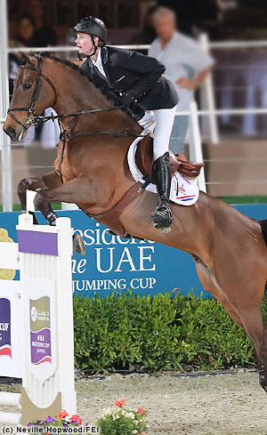 Image of Dutch team rider Frank Shuttert on Winchester HS jumping in the inaugural Nations Cup Abu Dhabi(Al Ain) CSIO5*